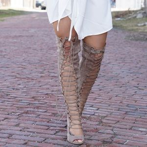 Nude Over the Knee Lace Up Heels